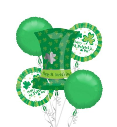 Foil Top Hat St. Patricks Day Balloon Bouquet 5pc
