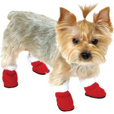 Red Fleece Dog Shoes