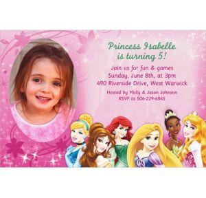 Custom Disney Princess Sparkle Photo Invitations