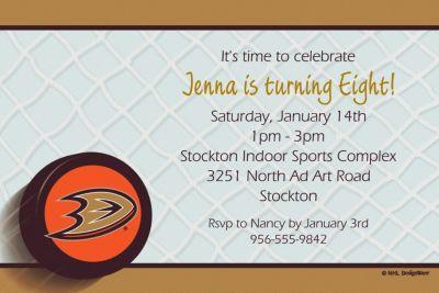 Custom Anaheim Ducks Invitations