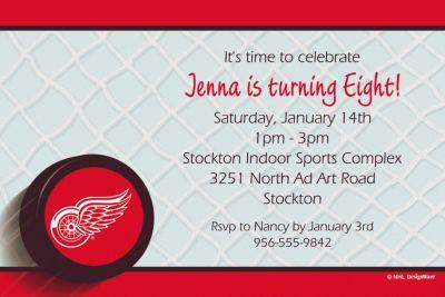Custom Detroit Red Wings Invitations