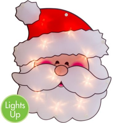 Light-Up Santa Window Decoration