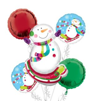 Snowman Balloon Bouquet 5pc - Joyful