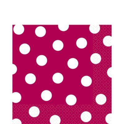 Raspberry Polka Dot Lunch Napkins 16ct