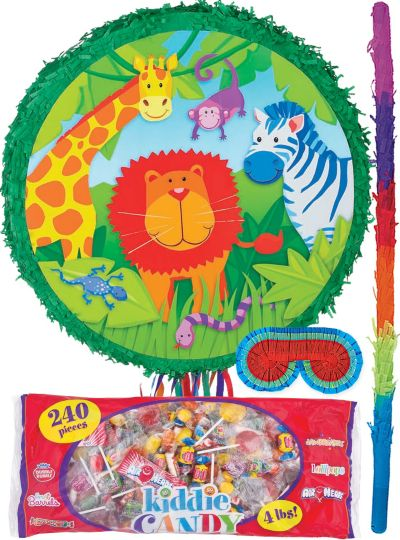 Pull String Jungle Animals Pinata Kit