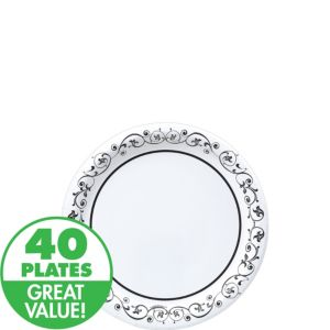 Fancy Scroll Paper Dessert Plates 40ct