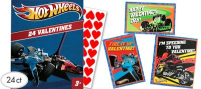 Hot Wheels Valentine Exchange Cards with Stickers 24ct