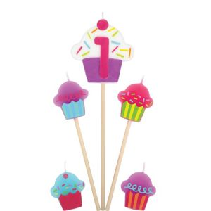 Number 1 Cupcake Birthday Toothpick Candles 5ct