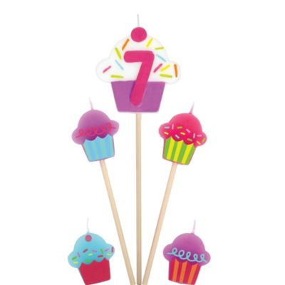 Number 7 & Cupcake Candle Picks 5ct