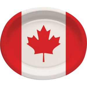 Canadian Flag Dinner Plates 8ct