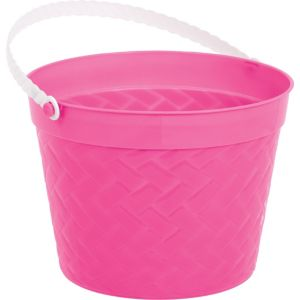 Bright Pink Plastic Woven Easter Bucket
