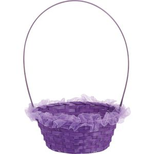 Purple Ruffled Bamboo Easter Basket