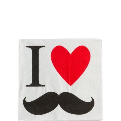 I Heart Moustache Beverage Napkins 16ct
