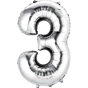 Giant Silver Number 3 Balloon