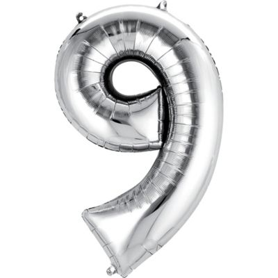Number 9 Balloon - Silver