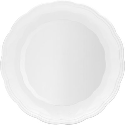White Plastic Scalloped Tray 12in