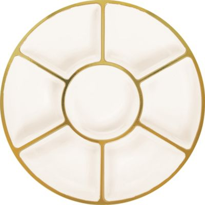 Gold Trimmed Cream Plastic Sectional Platter