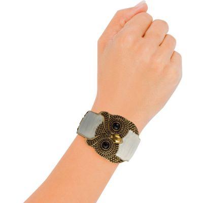 Enamel Owl Cuff Bracelet
