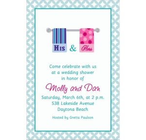 Custom His and Hers Towels Bridal Shower Invitations