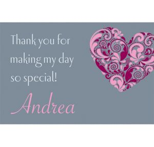Custom Big Heart Bridal Shower Thank You Notes