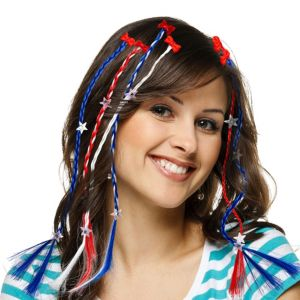 Patriotic Braided Hair Extensions 6ct