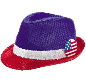 Sequin Patriotic Red, White & Blue Fedora