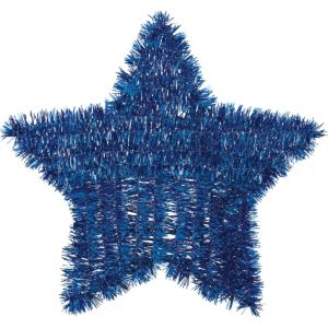 Tinsel Blue Star Decoration