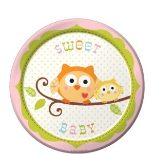 Pink Owl Baby Shower Dessert Plates 8ct