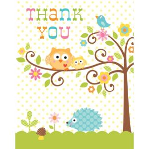 Owl Baby Shower Thank You Notes 8ct