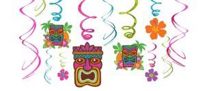 Tropical Tiki Swirl Decorations 12ct