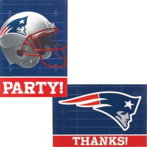 New England Patriots Invitations & Thank You Notes For 8