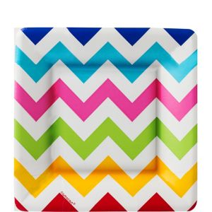 Bright Rainbow Chevron Square Dessert Plates 18ct