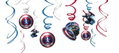 Captain America Swirl Decorations 12ct