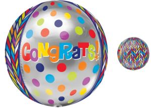 Orbz Dotty Geometric Congrats Balloon