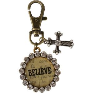 Vintage Believe Cross Key Chain