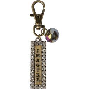 Vintage Rhinestone Imagine Key Chain
