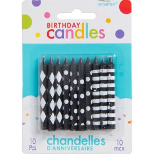 Black & White Pattern Birthday Candles 10ct
