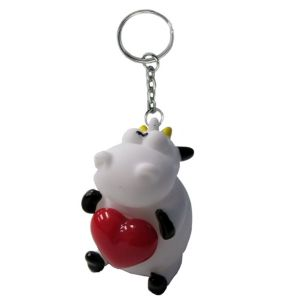 Heart Pop Squeeze Cow Keychain
