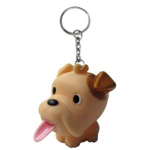 Tongue Pop Squeeze Bulldog Keychain