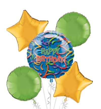 Happy Birthday Balloon Bouquet 5pc - Celebration Streamers