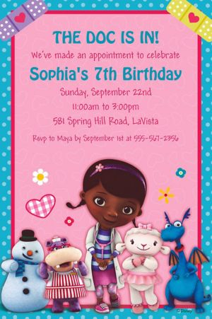 Custom Doc McStuffins Invitations