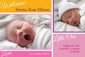 Custom Welcoming Words Girl Photo Announcement
