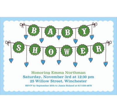 Baby Clothesline Boy Custom Invitation