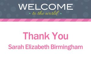 Custom Welcome to the World Girl Thank You Note