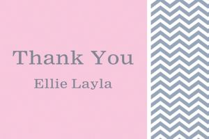 Custom Chevron and Initial Girl Thank You Note