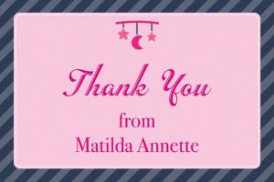 Custom Introducing the Baby Girl Thank You Note