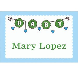 Custom Baby Clothesline Boy Thank You Notes
