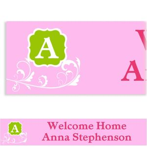 Custom Filigree and Monogram Girl Banner
