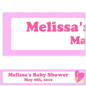 Custom Sweet Giraffes and Heart Girl Baby Shower Banner 6ft
