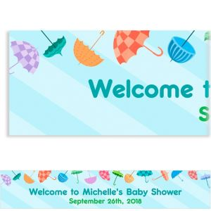 Custom Umbrella Baby Shower Banner 6ft